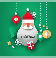 christmas card paper art santa claus ornament vector image