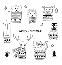 christmas doodle animals vector image