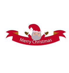 Christmas ribbon santa image vector
