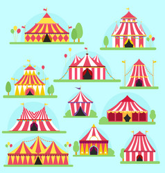 circus tent facade marquee marquee stripes vector image