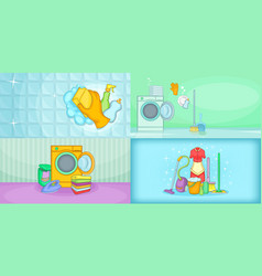 Cleaning banner set horizontal cartoon style vector