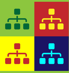 Color business hierarchy organogram chart vector
