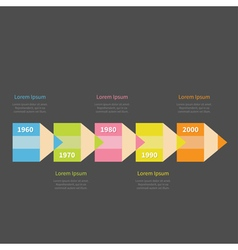 Colorful pencil arrow 5 step timeline infographic vector