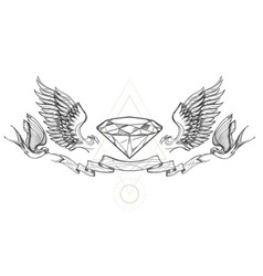 contour image diamond wings ribbon and vector image