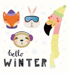 Cute animals winter set vector