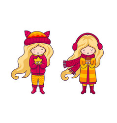 cute blonde little girls autumn fashion vector image