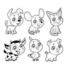 Cute farm animals in black and white vector image