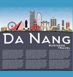 Da nang vietnam city skyline with color buildings vector