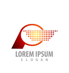 digital pixel letter p logo concept design symbol vector image