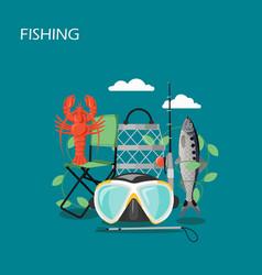 fishing set flat style design vector image