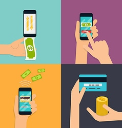 Flat design concepts of online payment metho vector