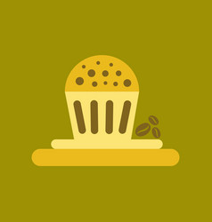 Flat icon on background coffee chocolate cake vector