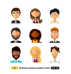 flat icons avatars users office business people vector image