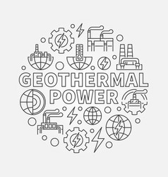 Geothermal power round vector