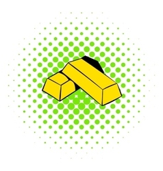 Gold bars icon comics style vector