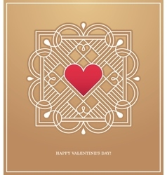 Golden heart frame for love design concept vector