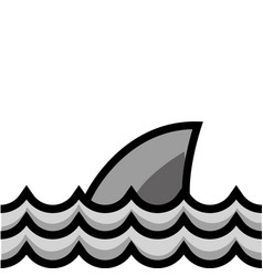Grayscale nature ocean waves with shark animal vector