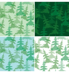 Green seamless patterns with fir trees vector