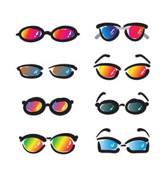 group hand drawn sunglasses on white background vector image
