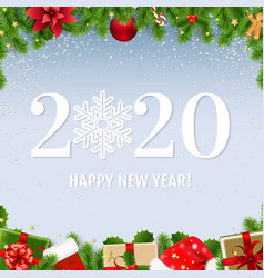 happy new year card with fir tree vector image