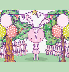 happy rabbit birthday with balloons and party vector image