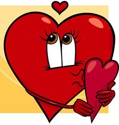 heart with valentine card cartoon vector image