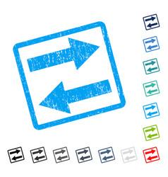 Horizontal flip arrows icon rubber watermark vector