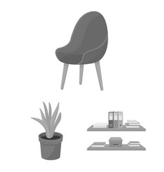 Interior of the workplace monochrome icons in set vector