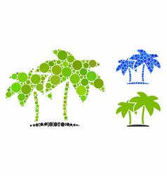 island palms mosaic icon circles vector image