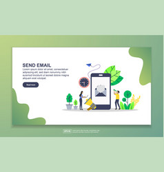 Landing page template send email modern flat vector