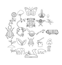 ligneous icons set outline style vector image