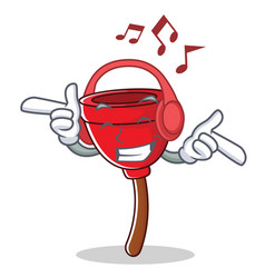Listening music plunger character cartoon style vector
