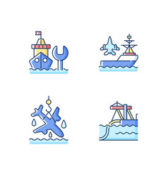Maritime sector rgb color icons set vector