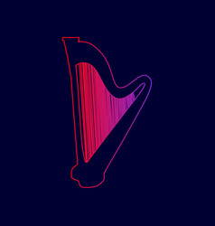 musical instrument harp sign line icon vector image