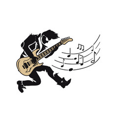 musician player guitarist with guitar and notes vector image