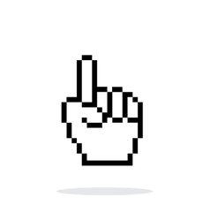 One finger Pixel hand cursor icon on white vector image