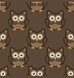 owl stylized art seamless pattern brown colors vector image