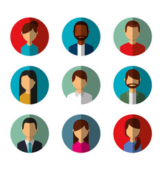 People avatars social media characters round icons vector