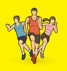 people run runner marathon running team work ru vector image