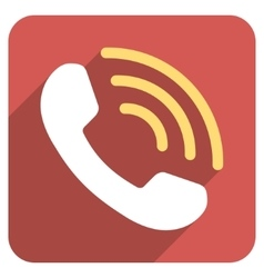 Phone Call Flat Rounded Square Icon with Long vector image