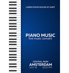 Piano concert poster design live music concert vector