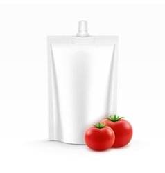Plastic Stand up Pouch foil of Tomato Ketchup vector