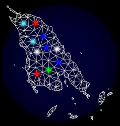 Polygonal carcass mesh map of koh chang with vector