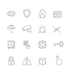 Protection and security outline icons vector image