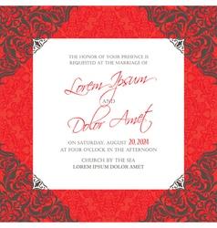 Red vintage wedding invitation card vector