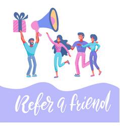 refer a friend marketing internet background man vector image