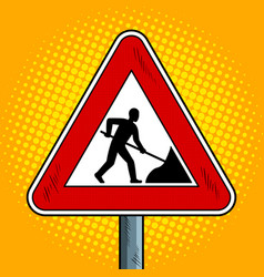 Road sign roadworks pop art vector