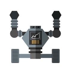 robot futuristic analytics screen wheel shadow vector image