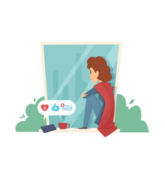 Sad woman on windowsill social media addiction vector