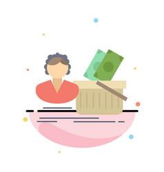 salary shopping basket shopping female flat color vector image